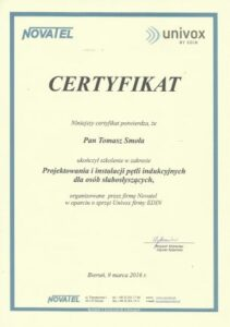 Pętla indukcyjna certyfikat Novatel