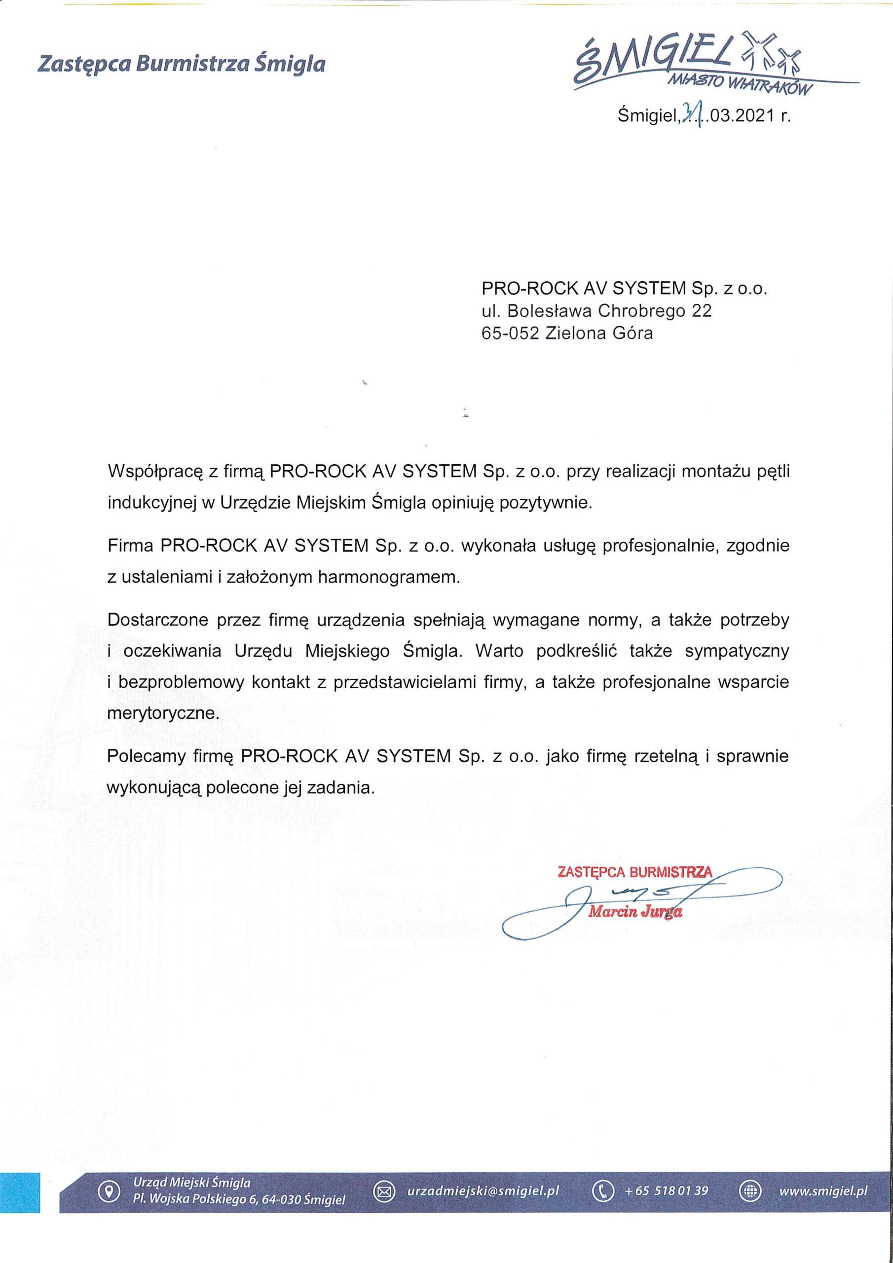 List referencyjny Urzęd Miejski Śmigla pętla indukcyjna